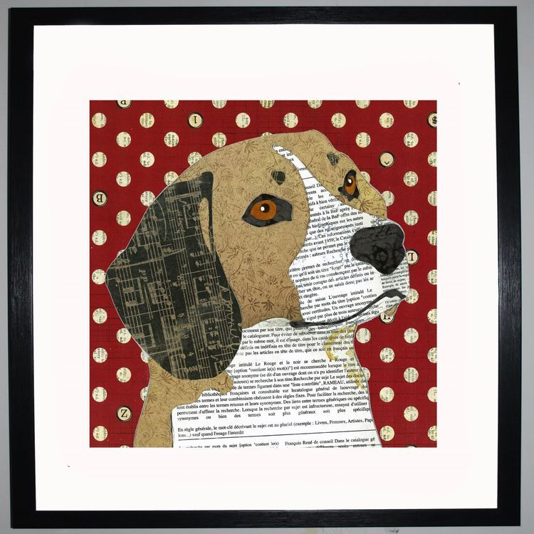 Beagle by UK Collage artist and illustrator Clare Thompson