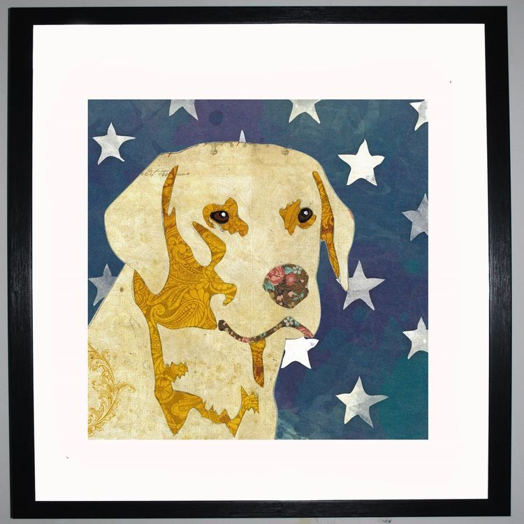 Golden Labrador by UK Collage artist and illustrator Clare Thompson