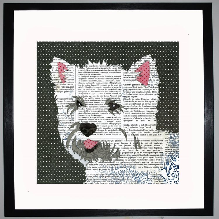 West Highland Terrier by UK Collage artist and illustrator Clare Thompson