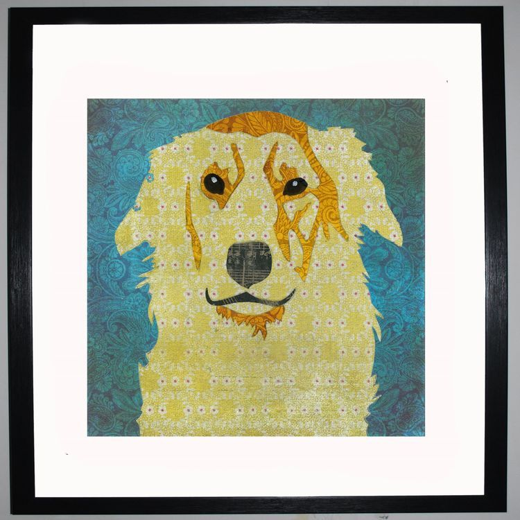 Golden Retriever by UK Collage artist and illustrator Clare Thompson