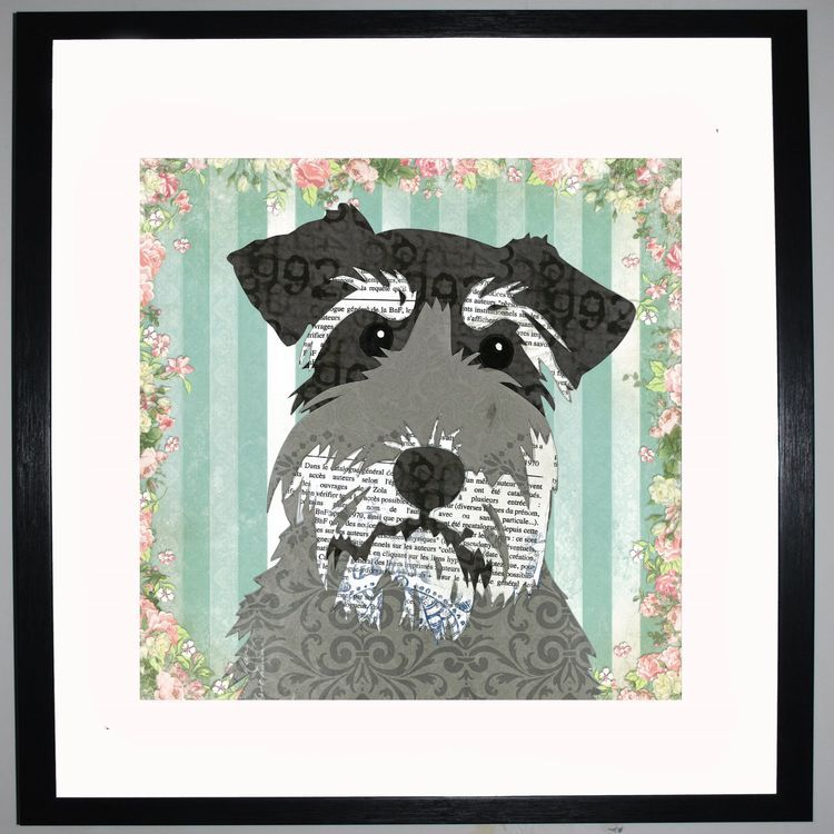 Schnauzer by UK Collage artist and illustrator Clare Thompson