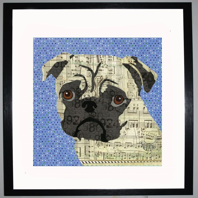 Pug by UK Collage artist and illustrator Clare Thompson
