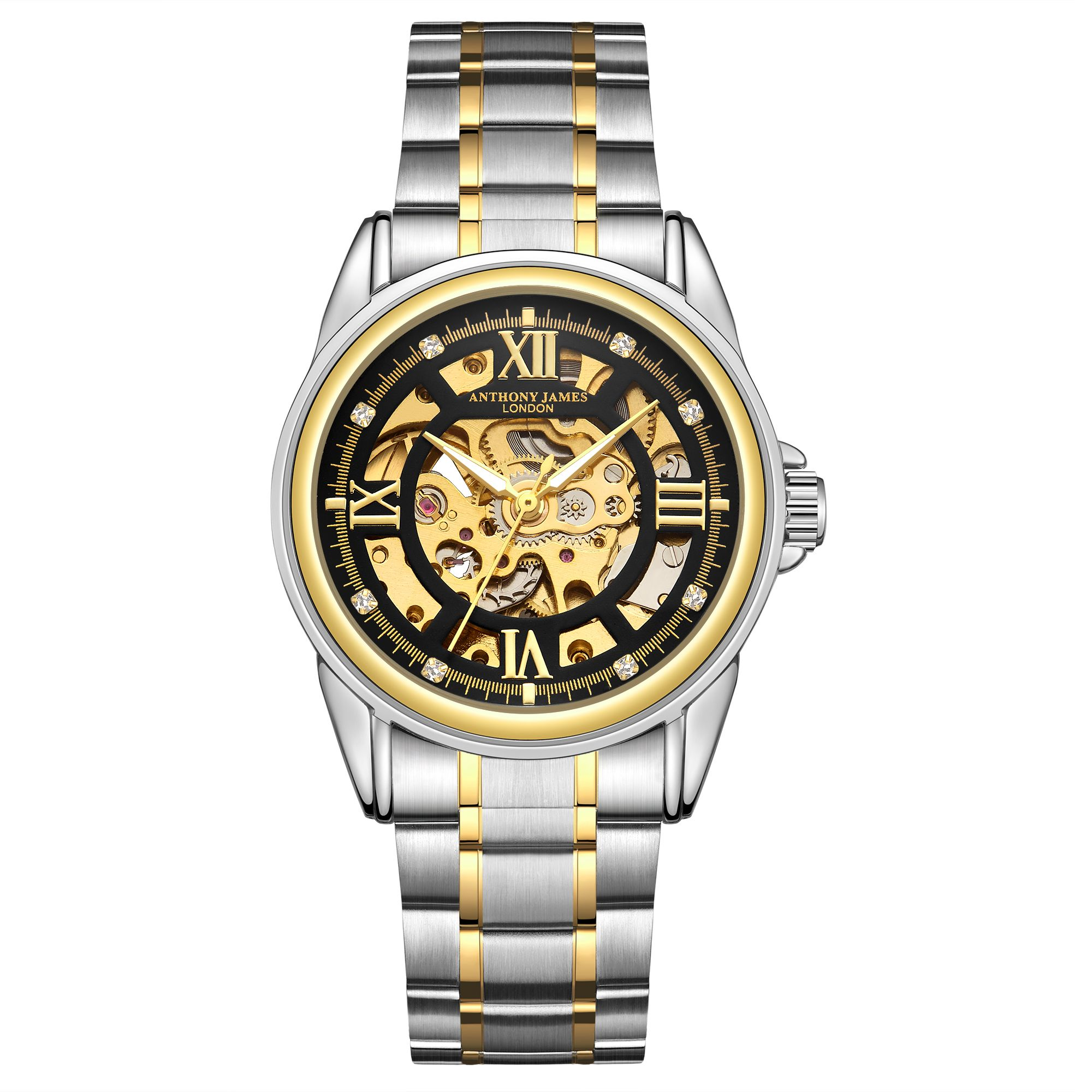 Hand Assembled Anthony James Limited Edition Skeleton Two Tone Gold &  Steel Mens Watch