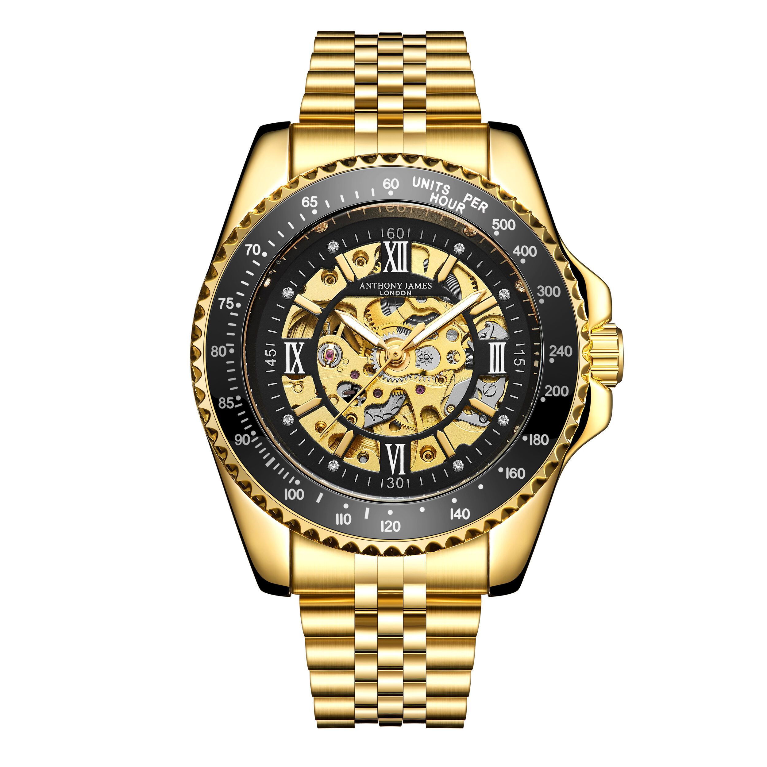 Hand Assembled Anthony James Limited Edition Tachymeter Sports Automatic Gold