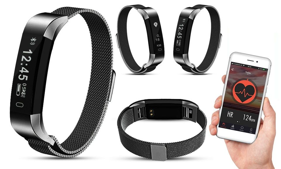 AQ115 HR Fitness Tracker with Milanese Strap Space Grey