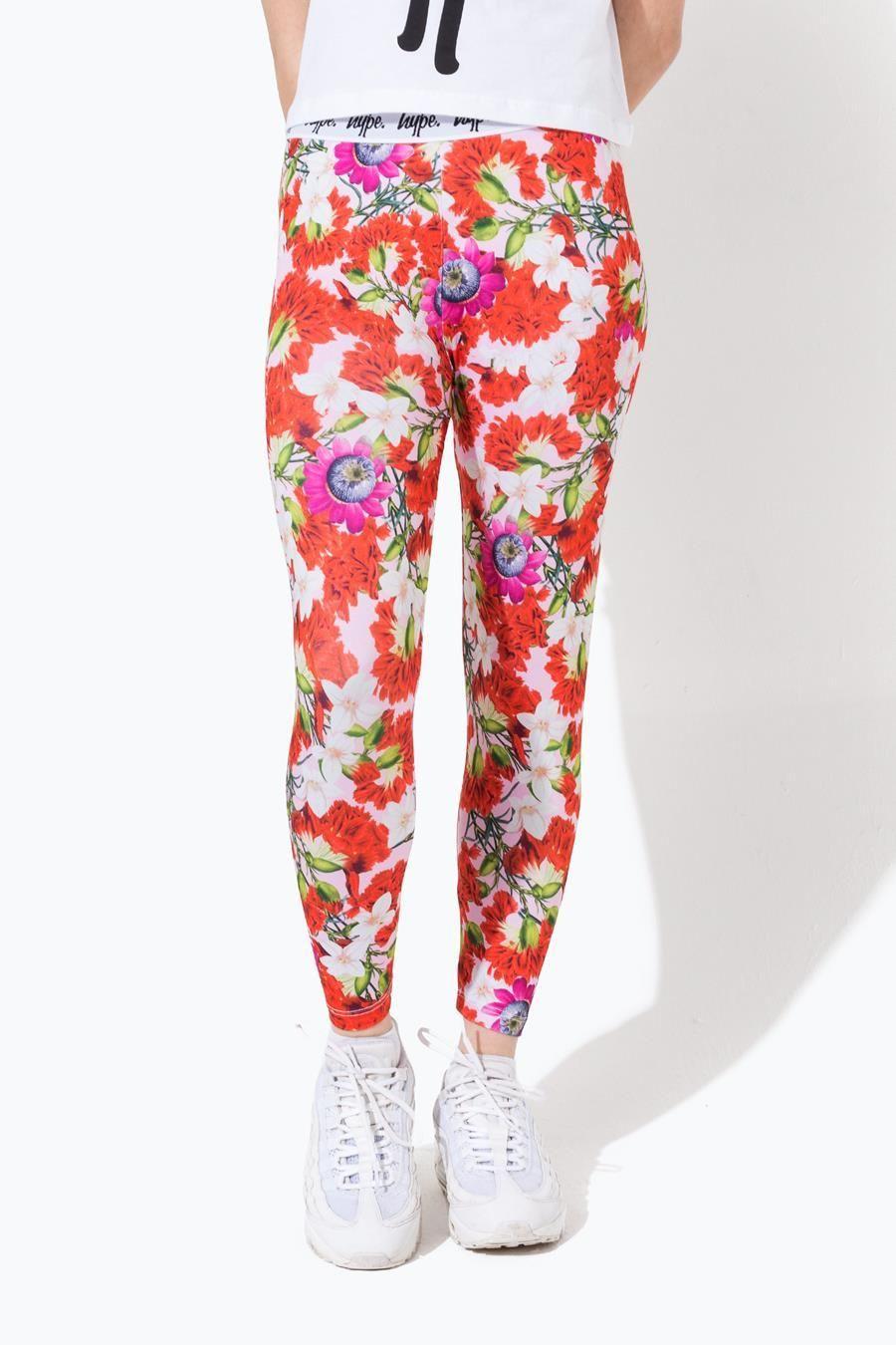 Hype Pink Floral Kids Leggings