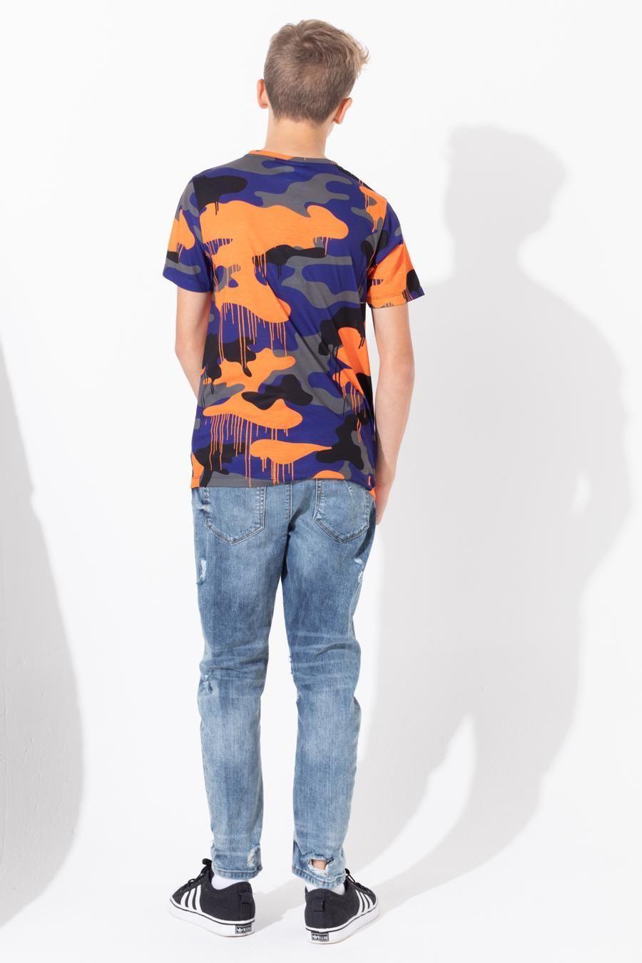 Hype Camo Drips Script Kids T-Shirt