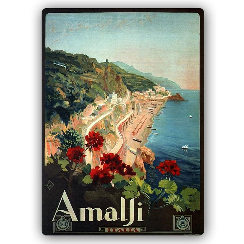 Vintage Tourist Poster - Metal Print  - Amalfi