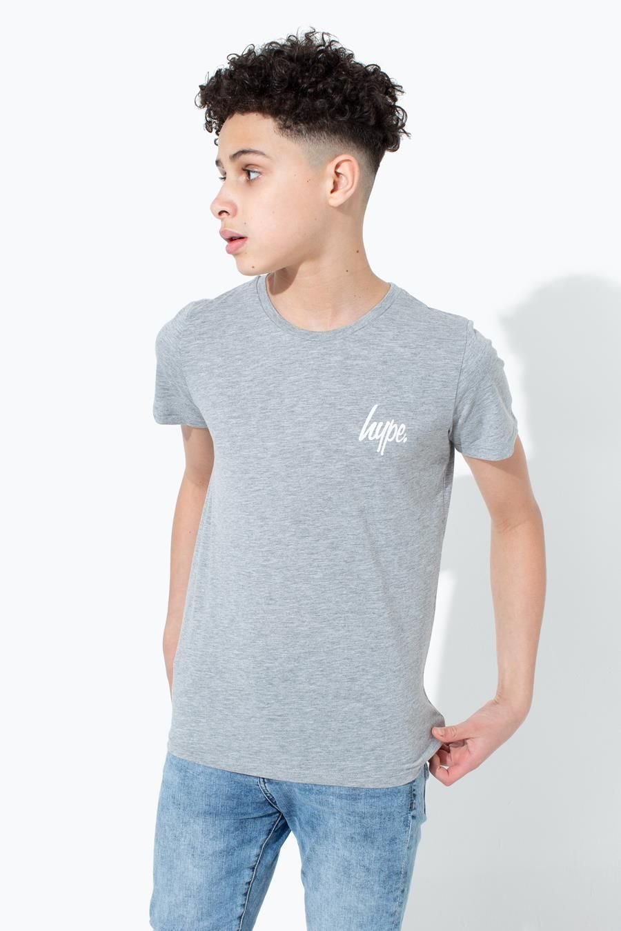 Hype Grey Mini Script Kids T-Shirt