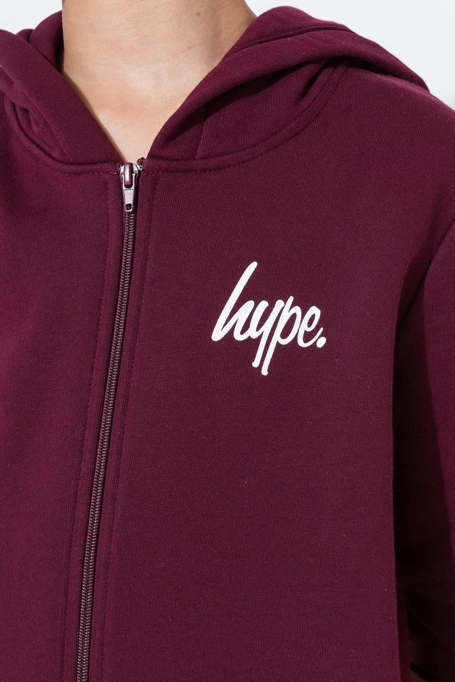 Hype Burgundy Mini Script Kids Zip Hoodie