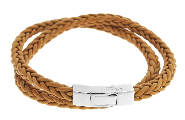 Silver  Leather  Tan  Double Wrap  M-40cm(L)  Square braided  Click Monaco