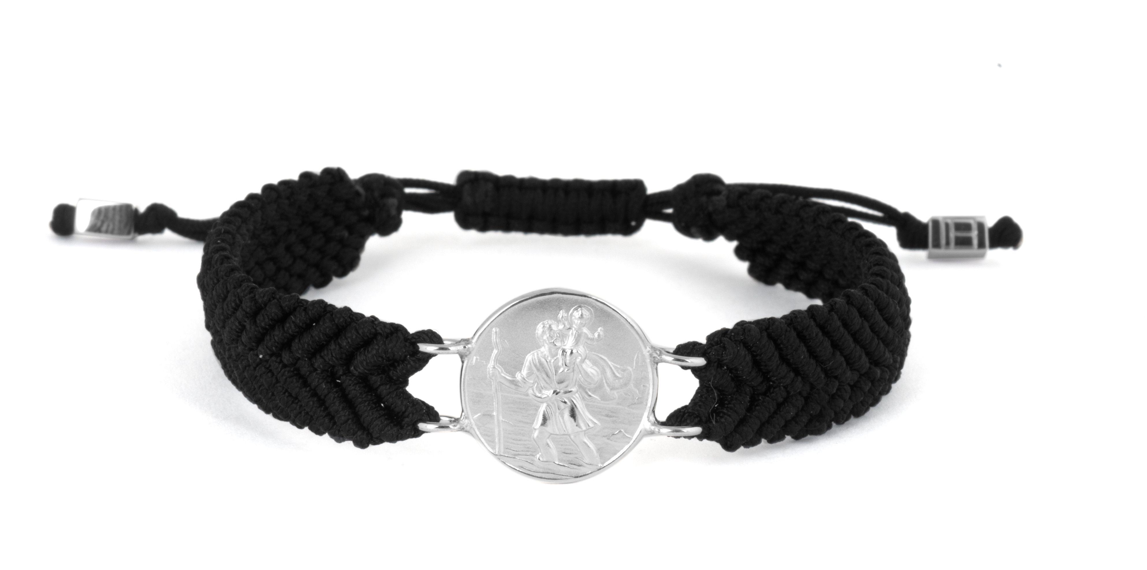 Silver  Black Single wrap  Mens  Large St Christopher  Medallion-Macrame