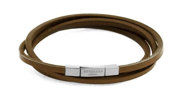 Fetuccinni brown leather bracelet