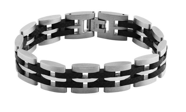 Titanium and carbon bracelet