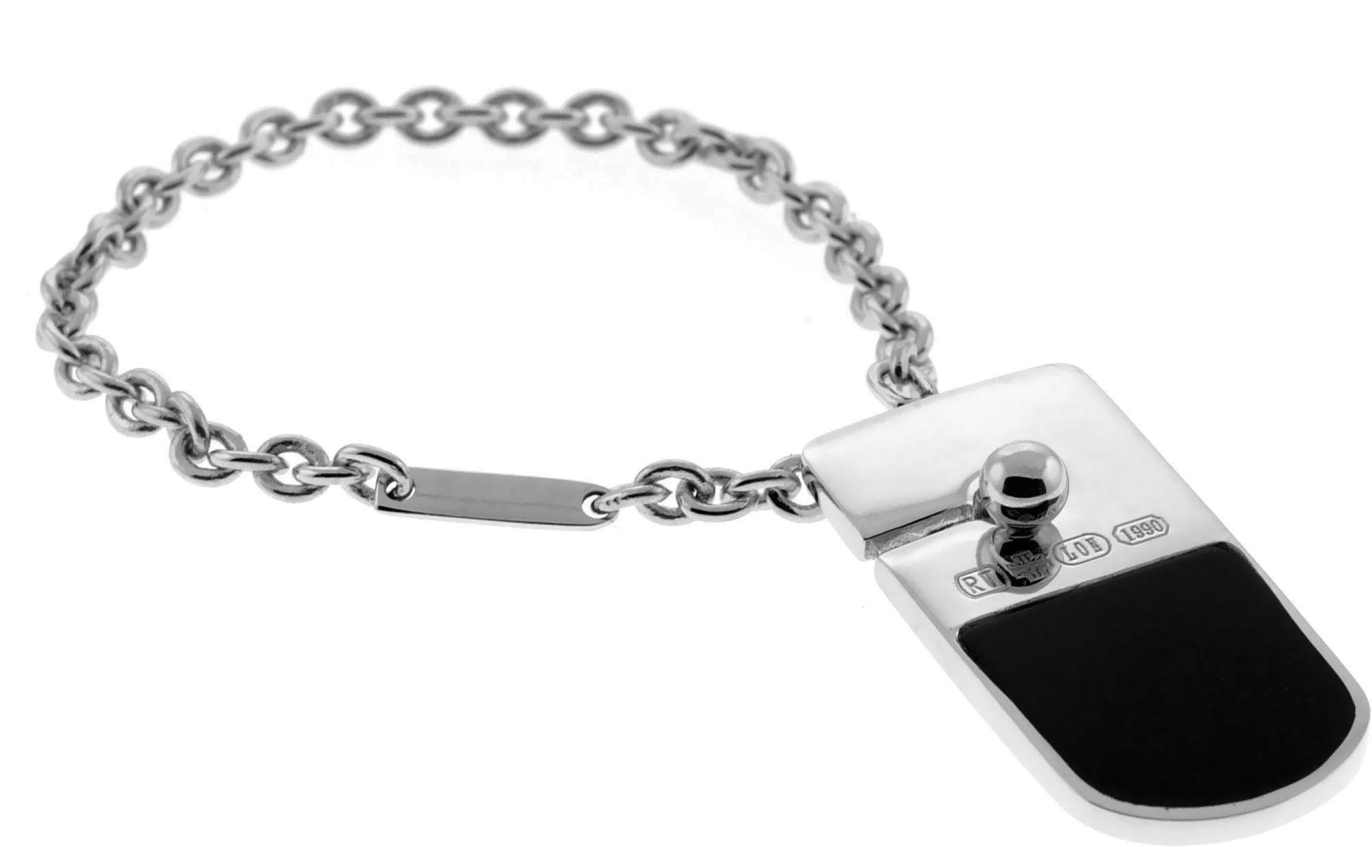 Rhodium Onyx Black Trojan Keyring