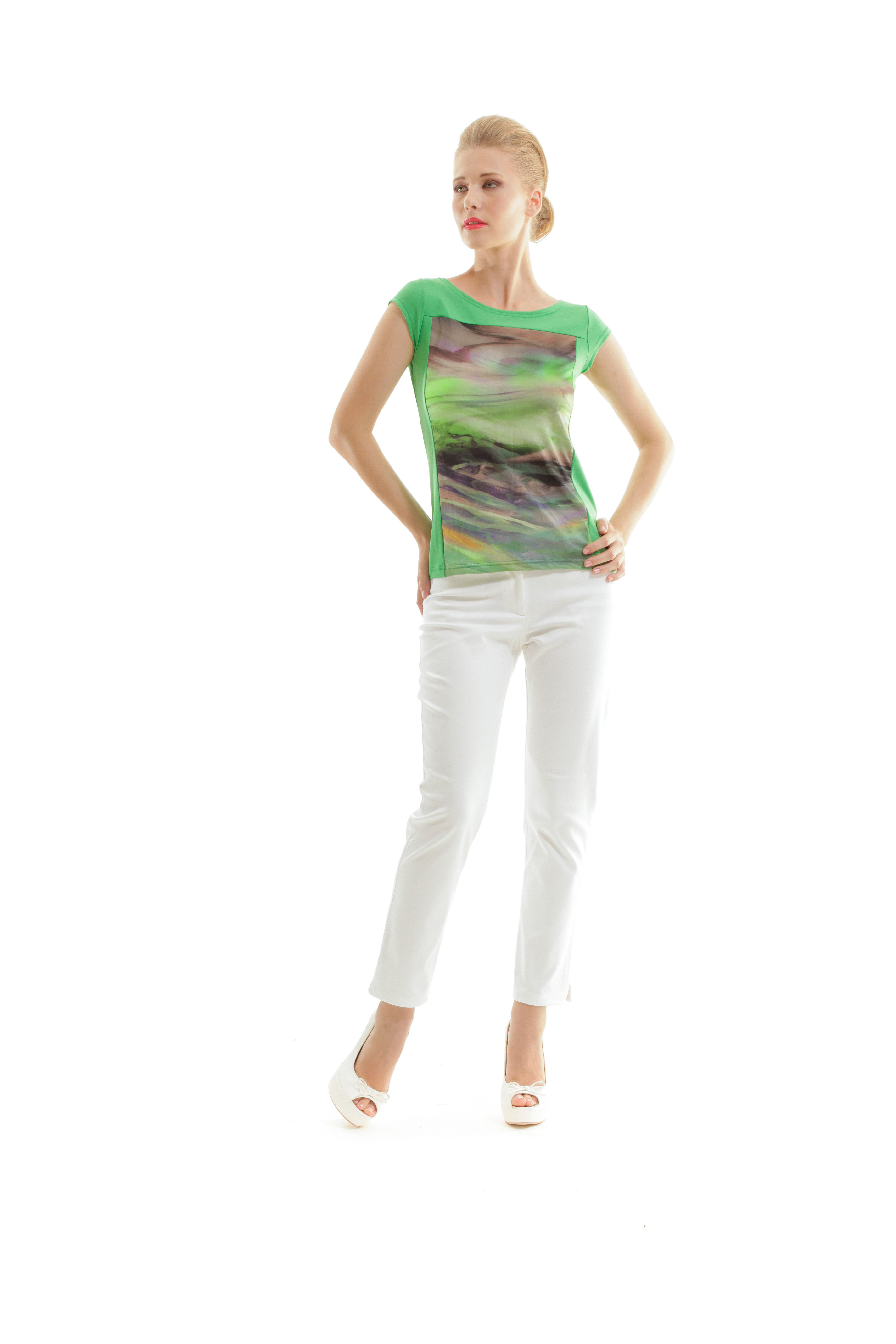 Swirly Print Boat Neck Top