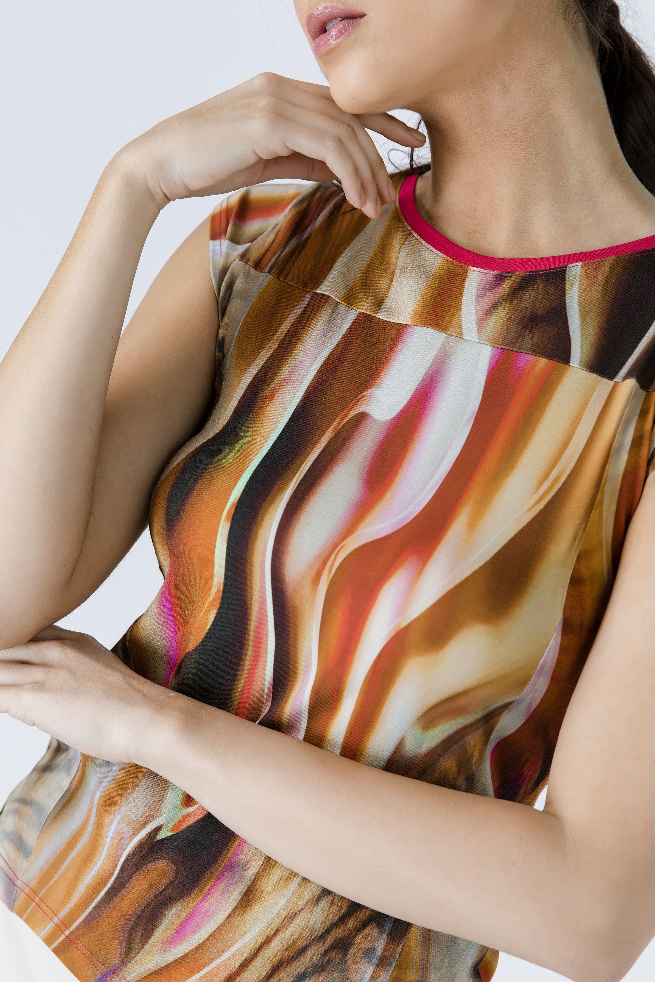 Print Cap Sleeve Top with Trim Detail