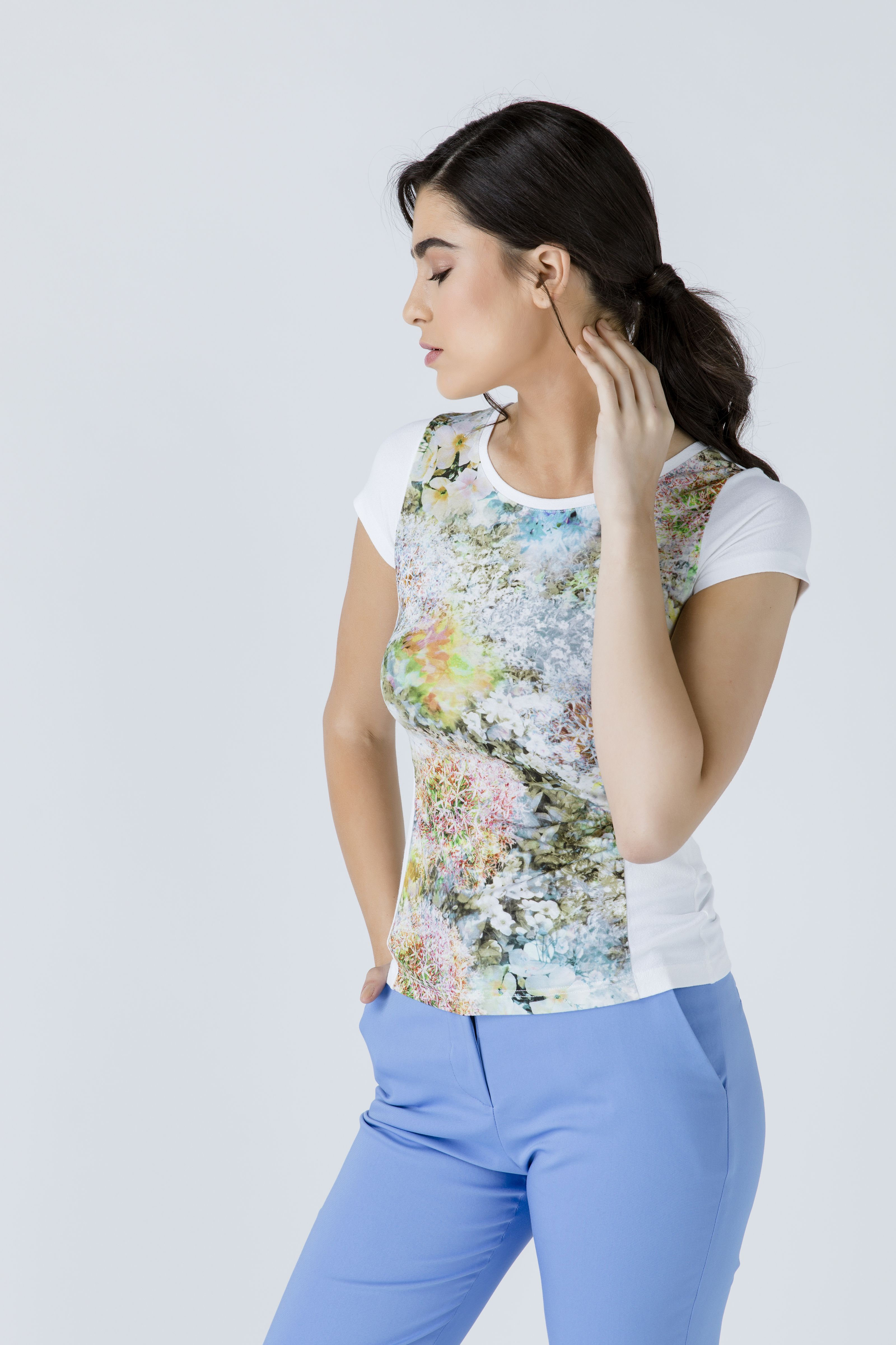 White Short Sleeve Floral Print Top