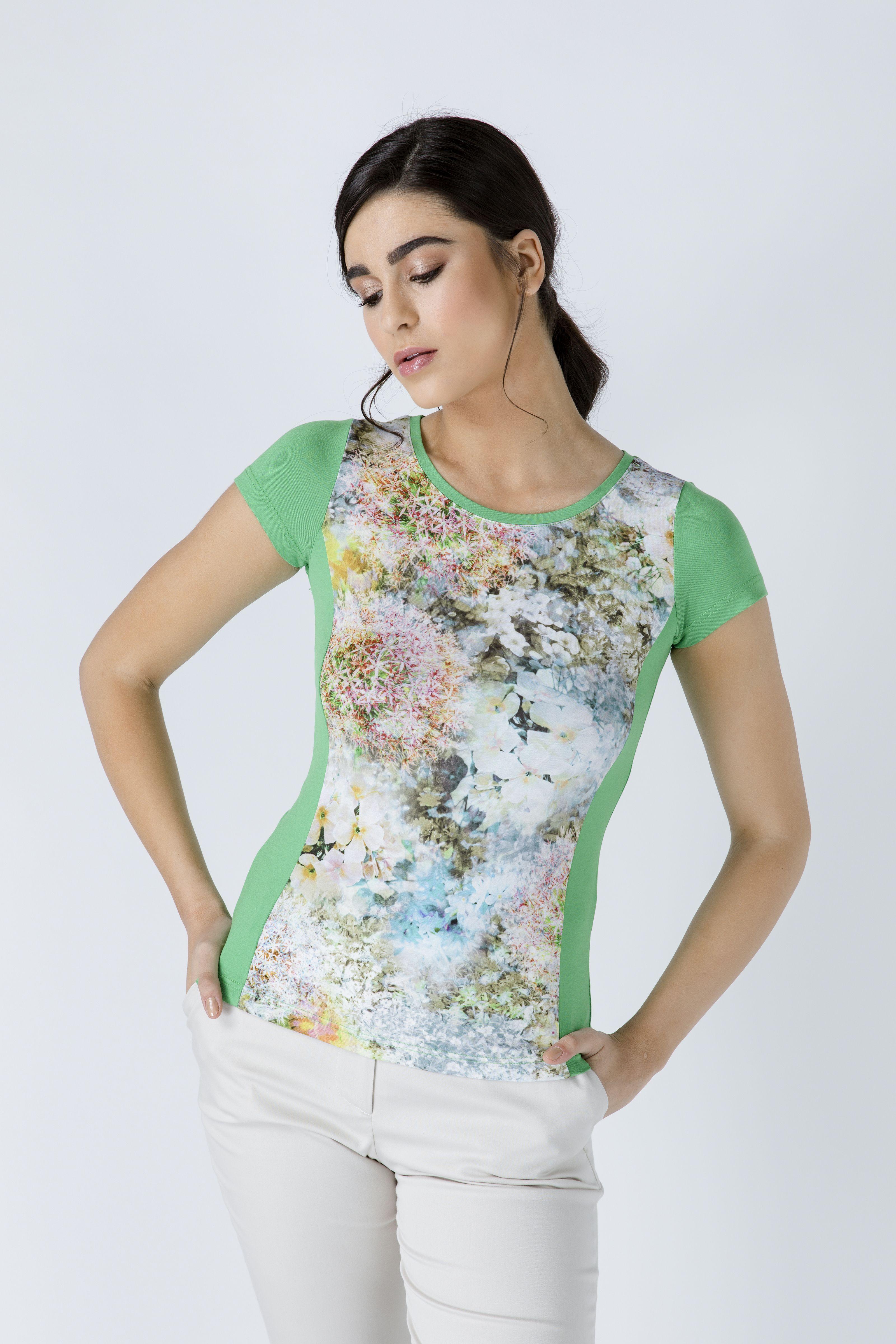 Green Short Sleeve Floral Print Top