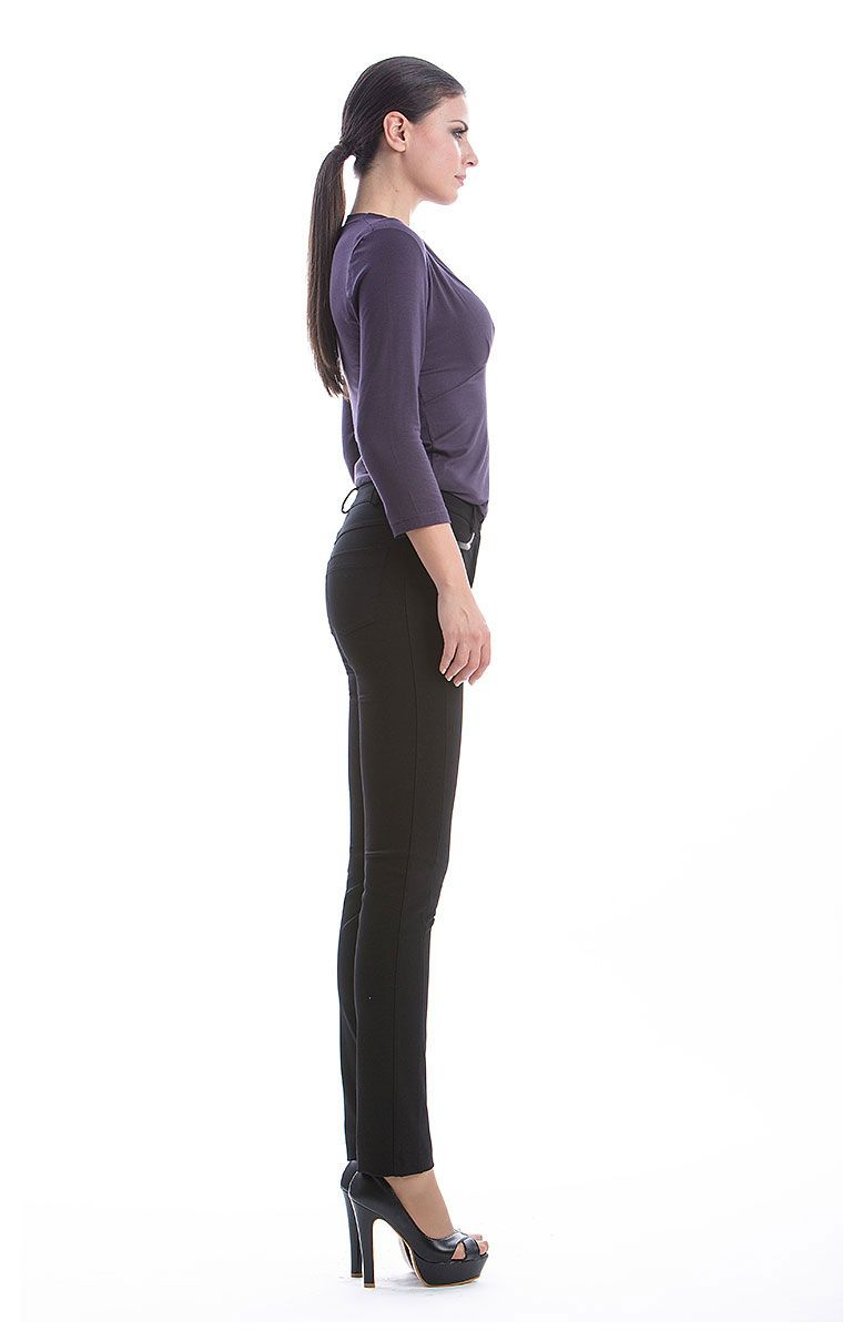 Full Length Pants with Pleather Detail