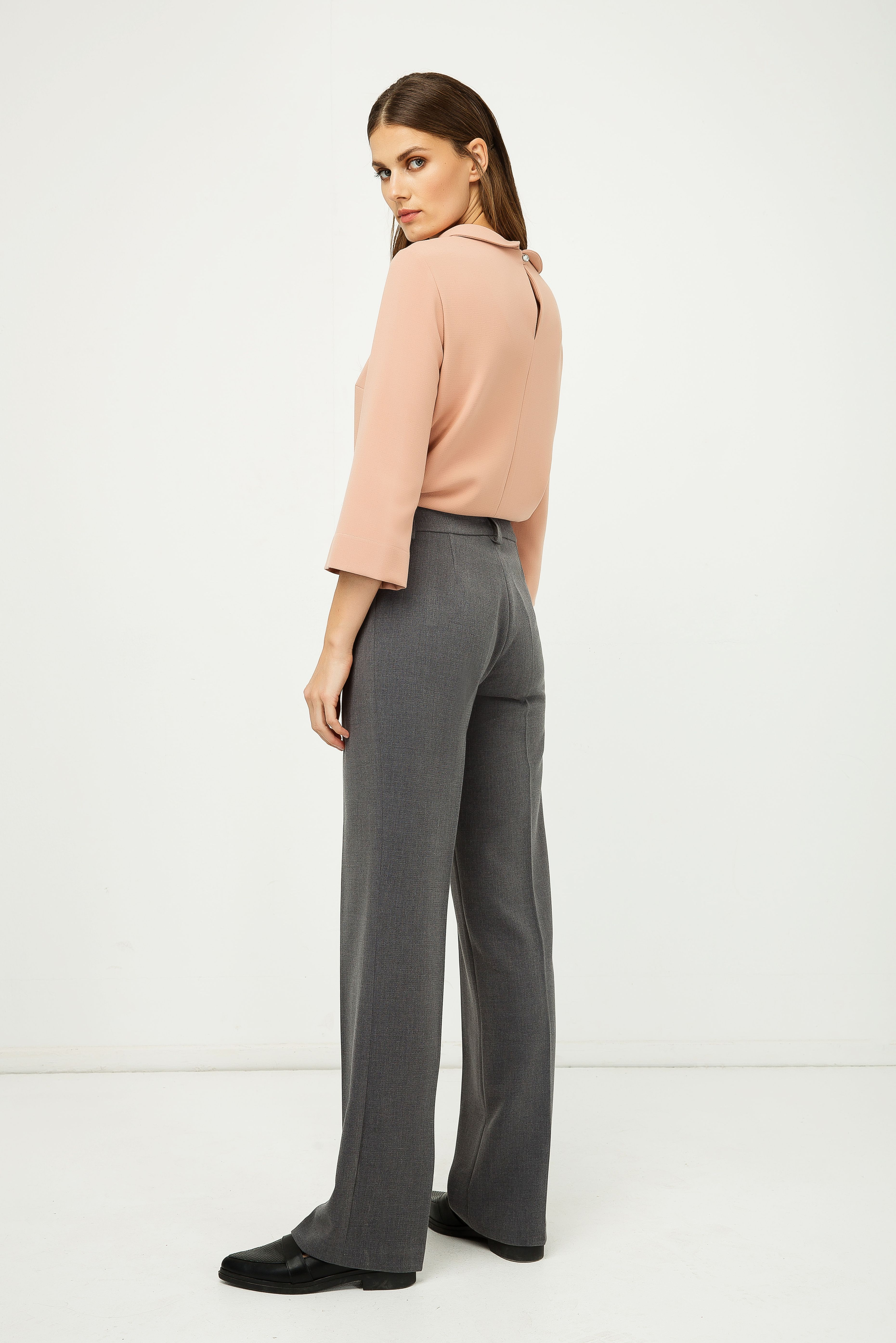 Classic Straight Trousers Grey