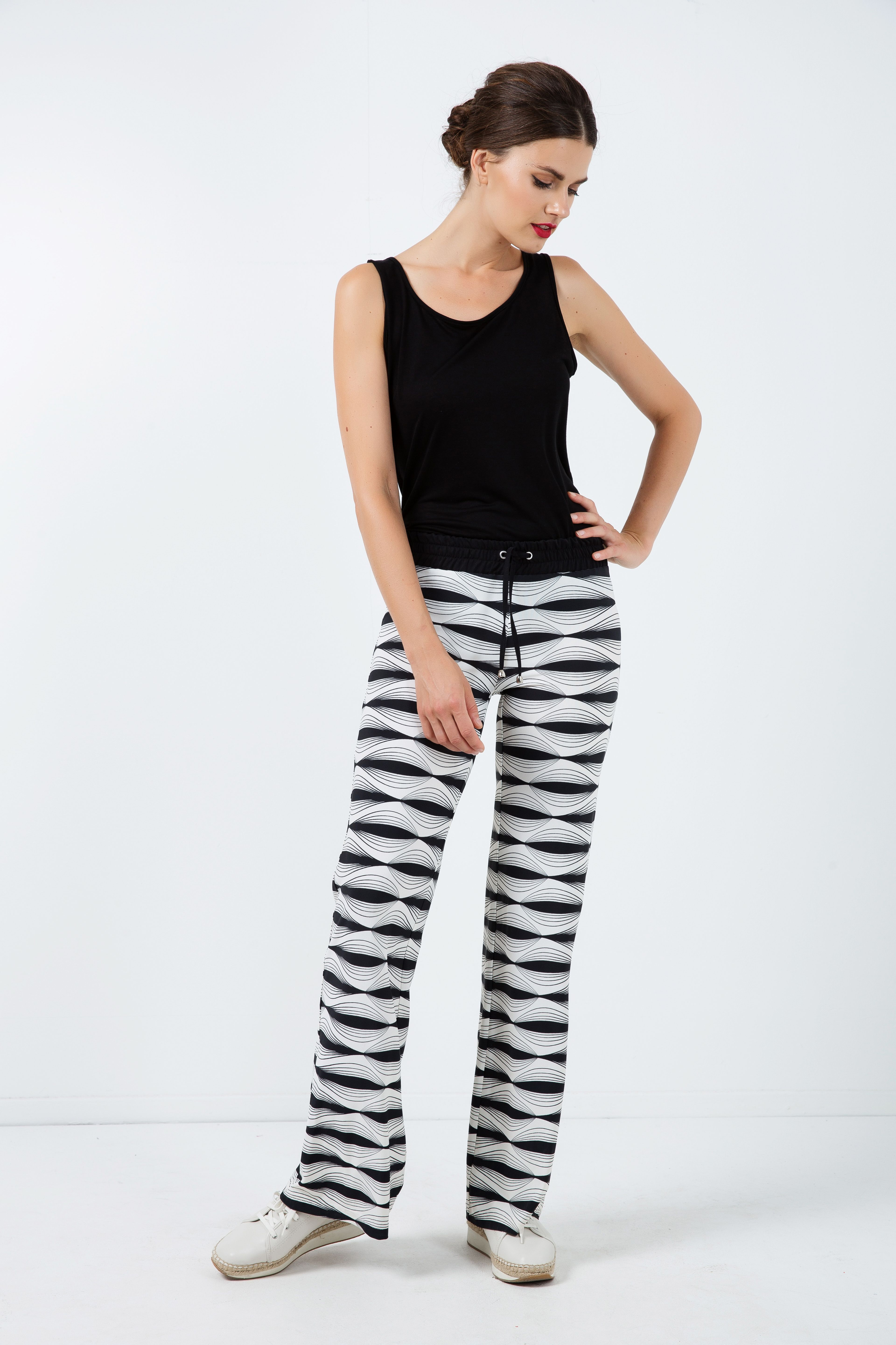 Wide Pants in Stretch Print Fabric