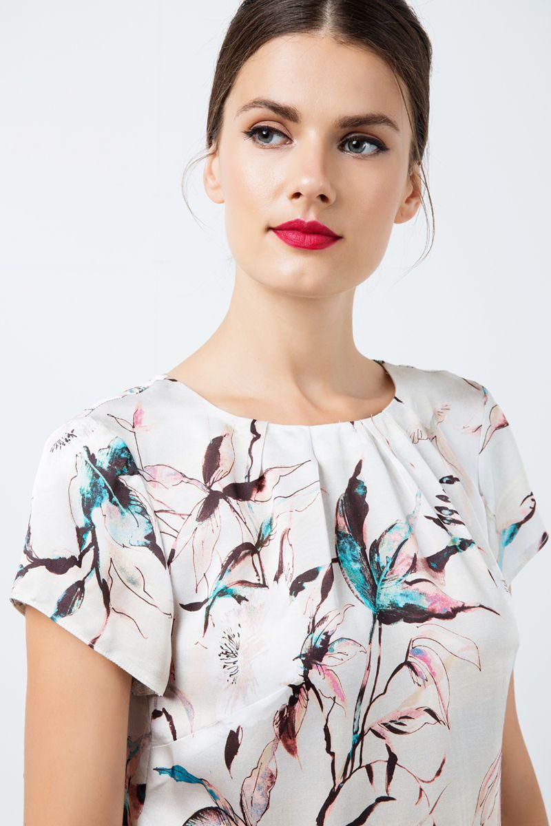 Short Sleeve Print Satin Top