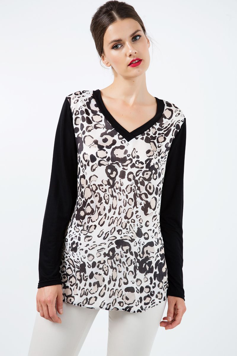 Long Sleeve Print Top with Trim Detail