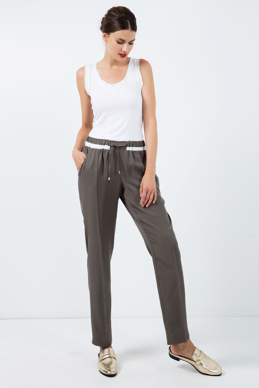 Long Khaki Pants with Cream Panel