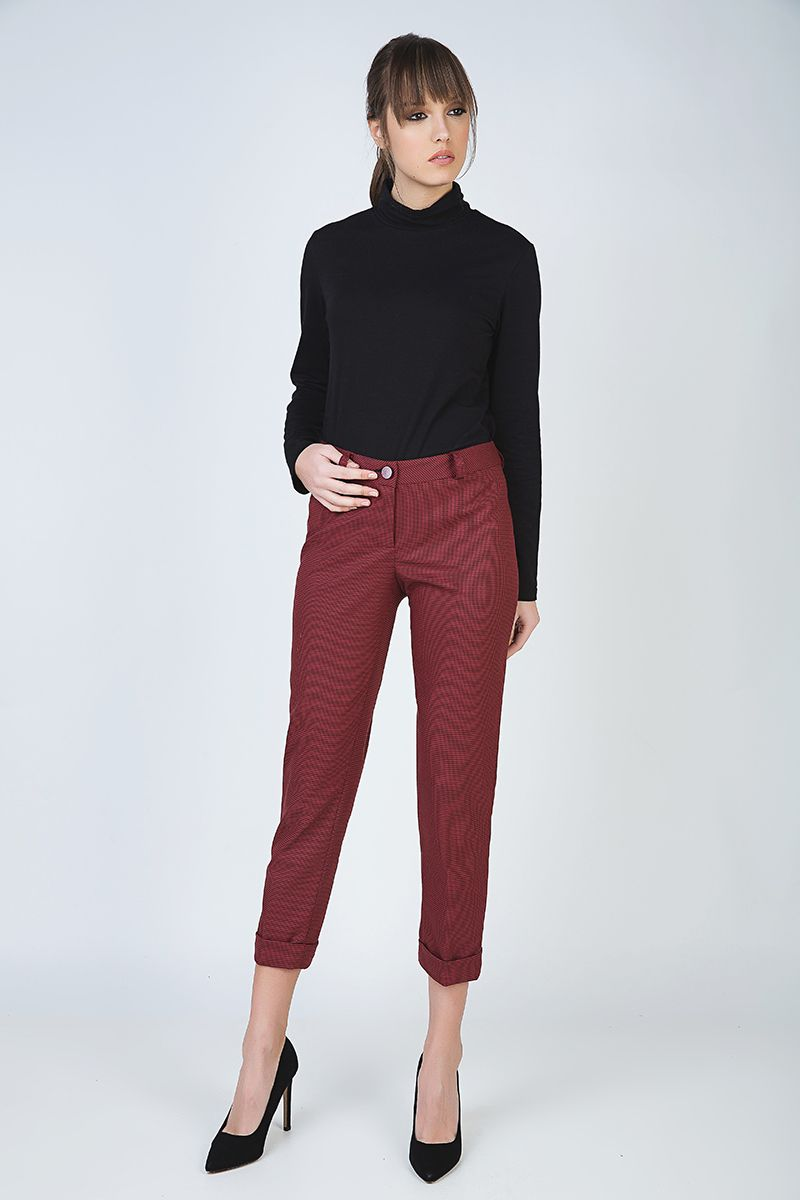 Cropped Tapered Pants with Turn-Ups