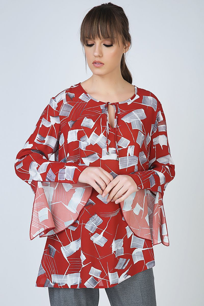 Loose Fit Print Top with Bell Sleeves