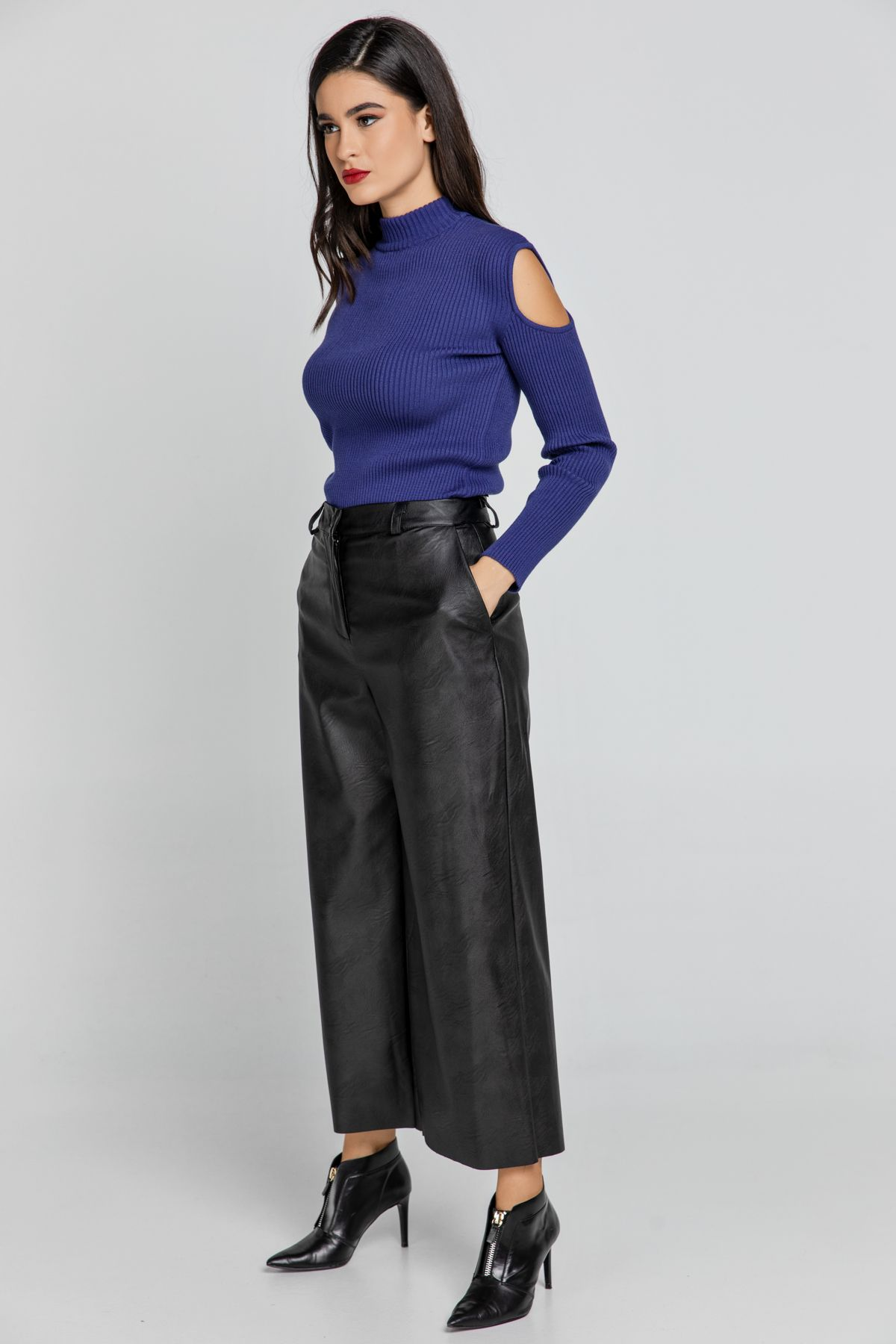 Black Faux Leather Culottes by Conquista Fashion