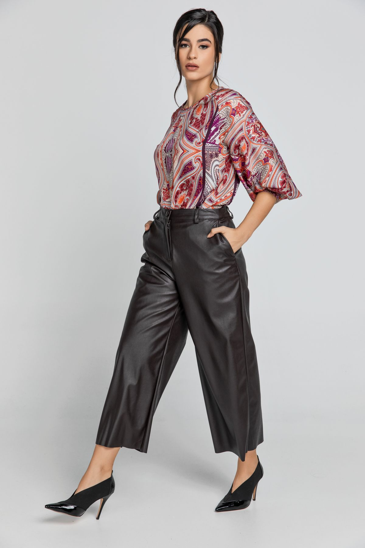 Dark Brown Faux Leather Culottes by Conquista Fashion