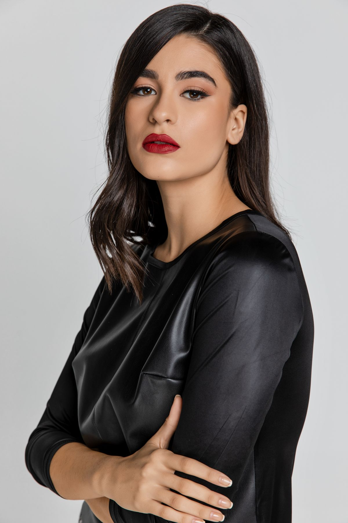 Black Stretch Top with Leather Front