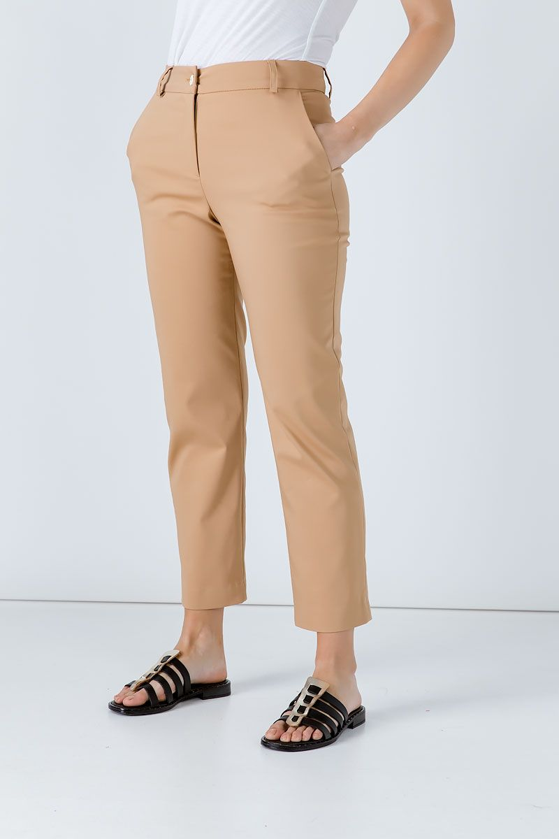 Biscuit Colour Fitted Stretch Pants