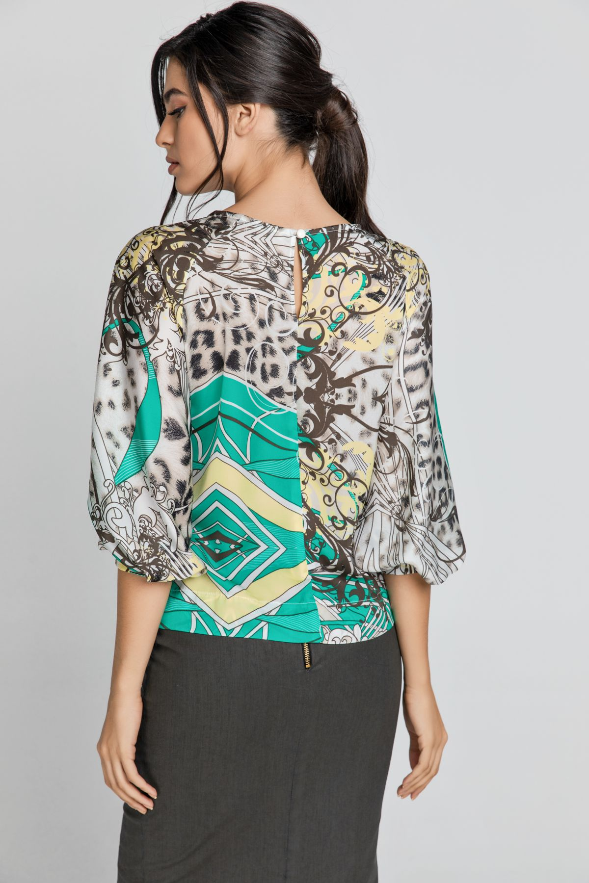 Print Top with Bishop Sleeves