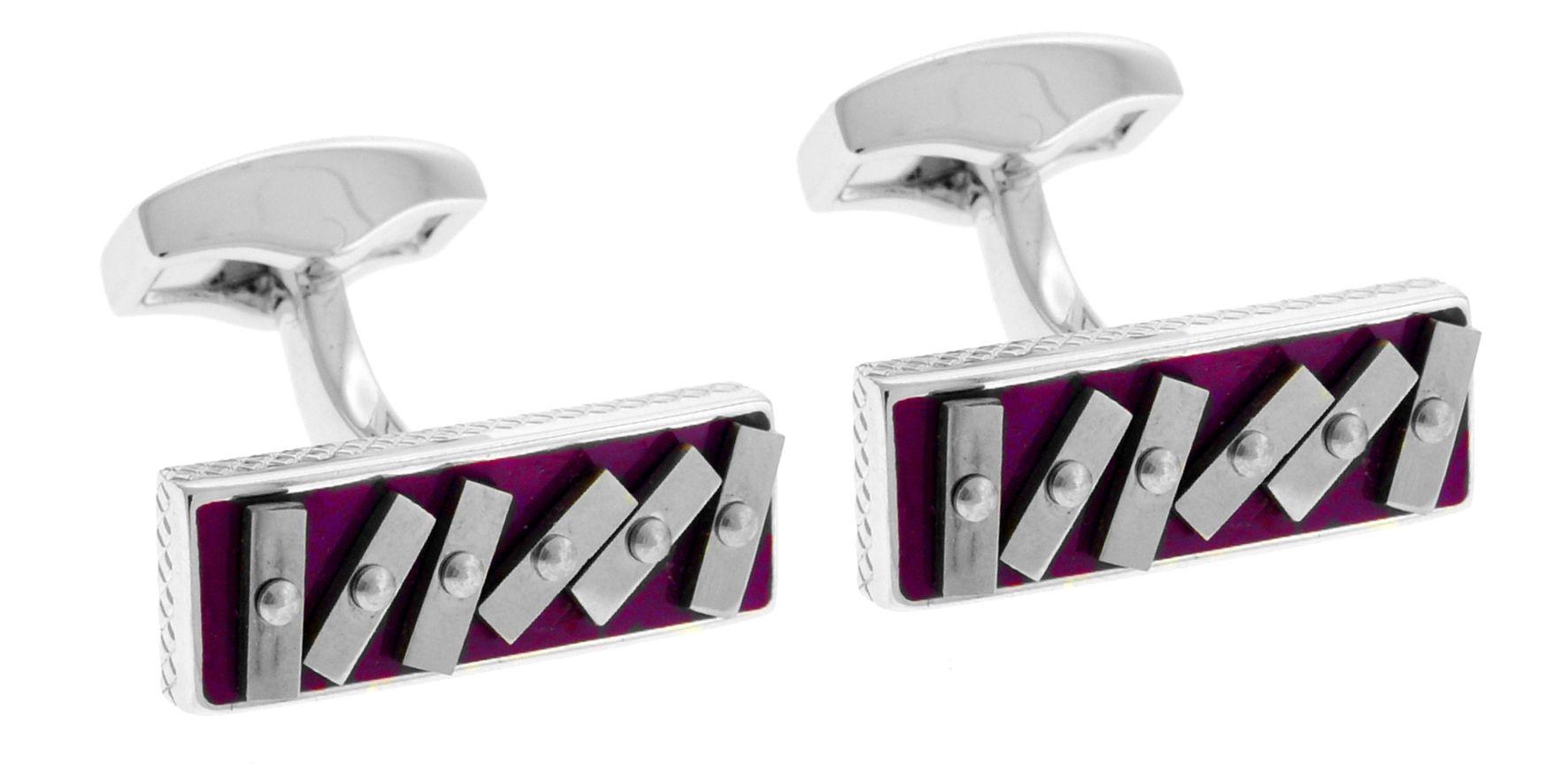 Rhodium  Enamel  Purple  Swivel Rectangle -