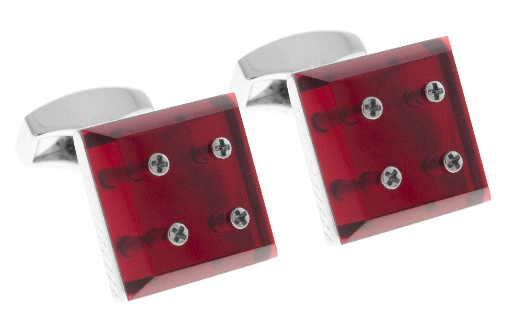 Rhodium  Perspex  Red  Square Perspex Mirror -