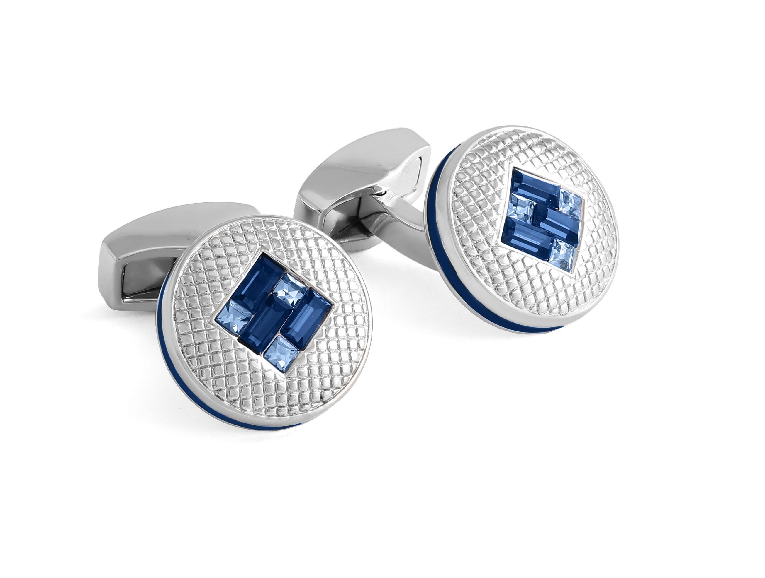 Swarovski blue interlocking diamond cufflinks