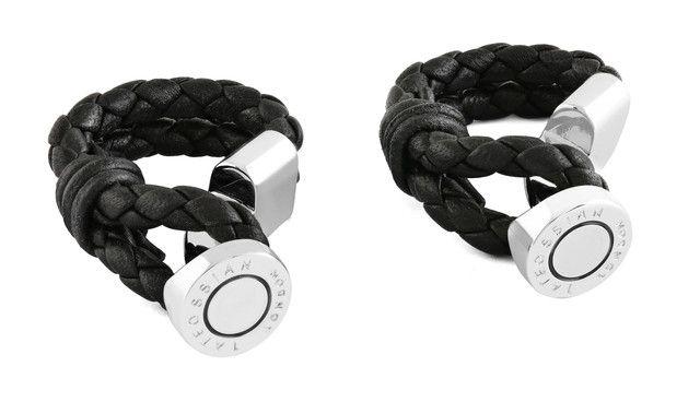 Black wrap-around cufflinks