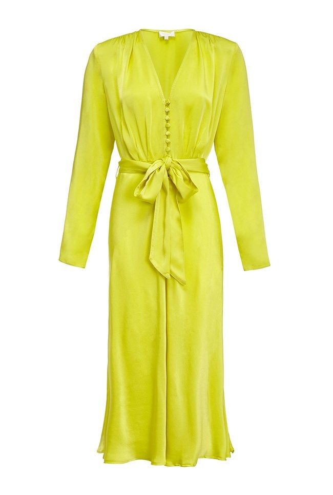 Meryl Lime Green Satin Dress