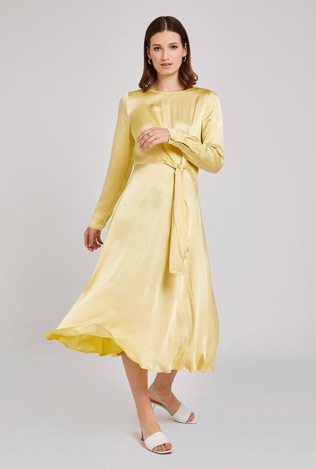 Mindy Lemon Satin Dress