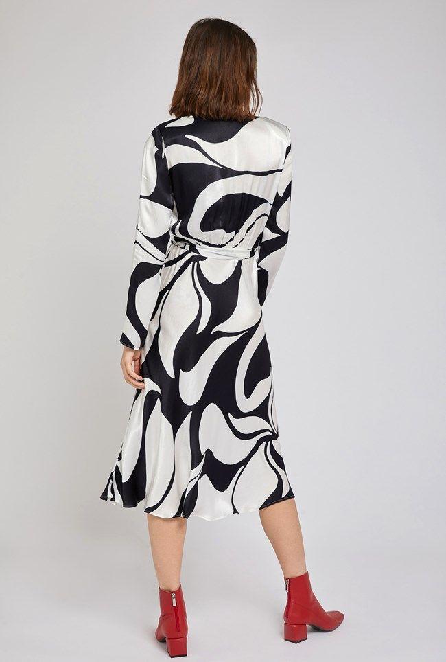 Meryl Abstract Print Satin Dress