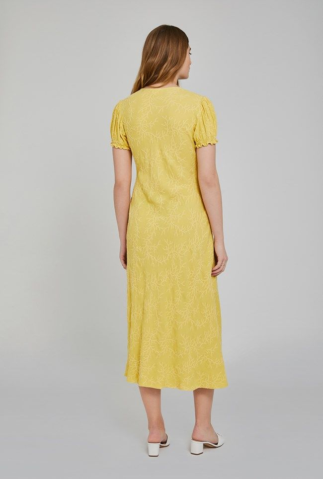 Poet Lemon Embriodered Crepe Dress