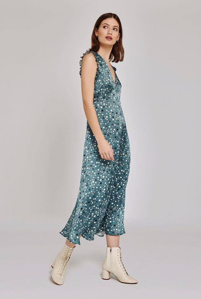 Kaylee Floral Print Satin Dress