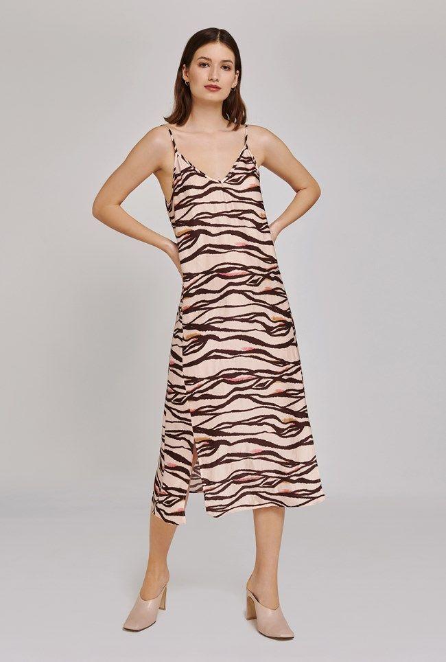 Heidi zebra print satin dress