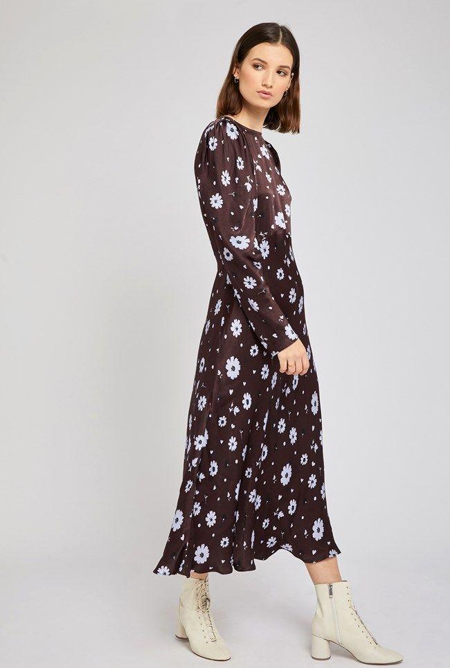 Rosaleen Daisy Print Satin Dress