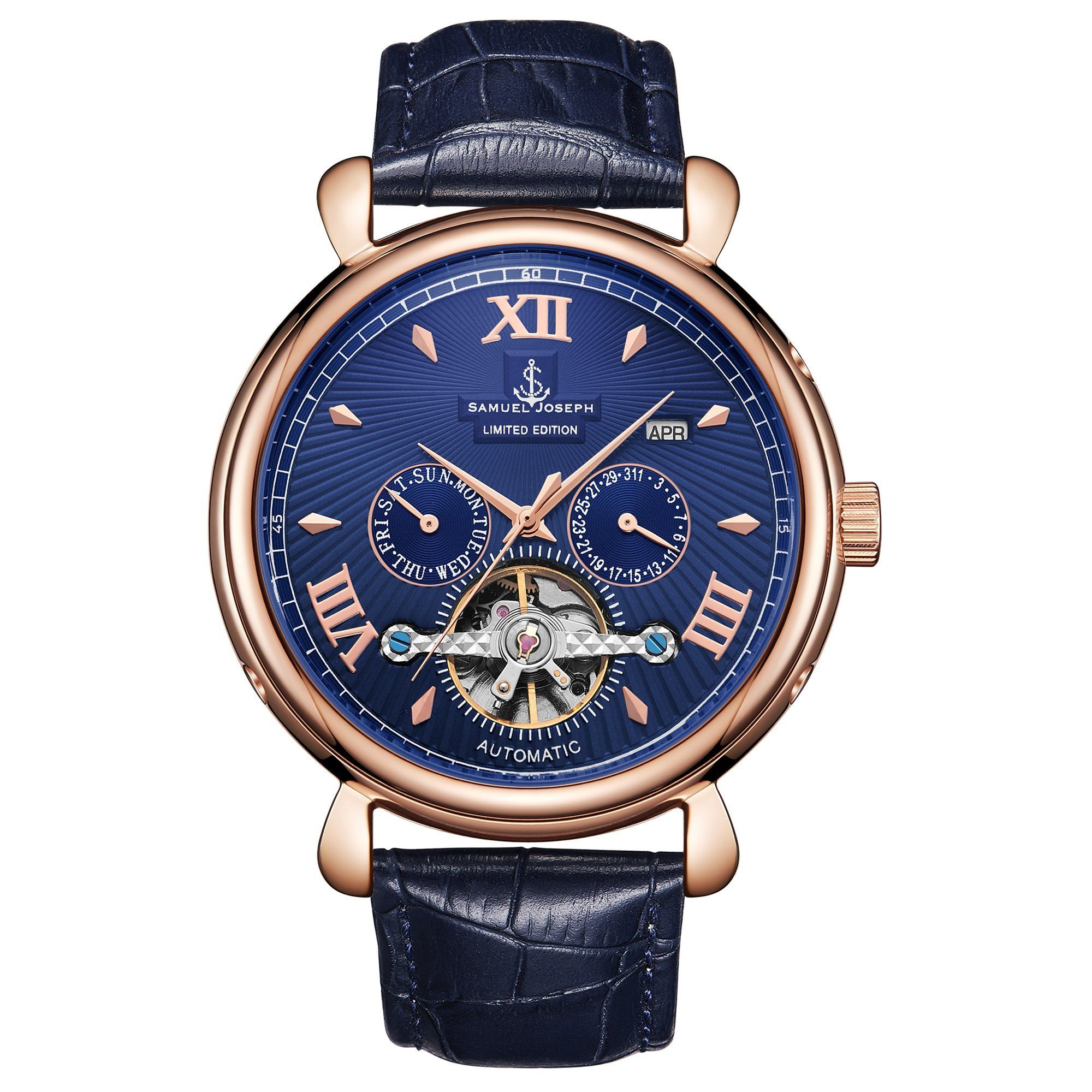 Samuel Joseph Limited Edition Rose & Blue Automatic Designer Mens Watch