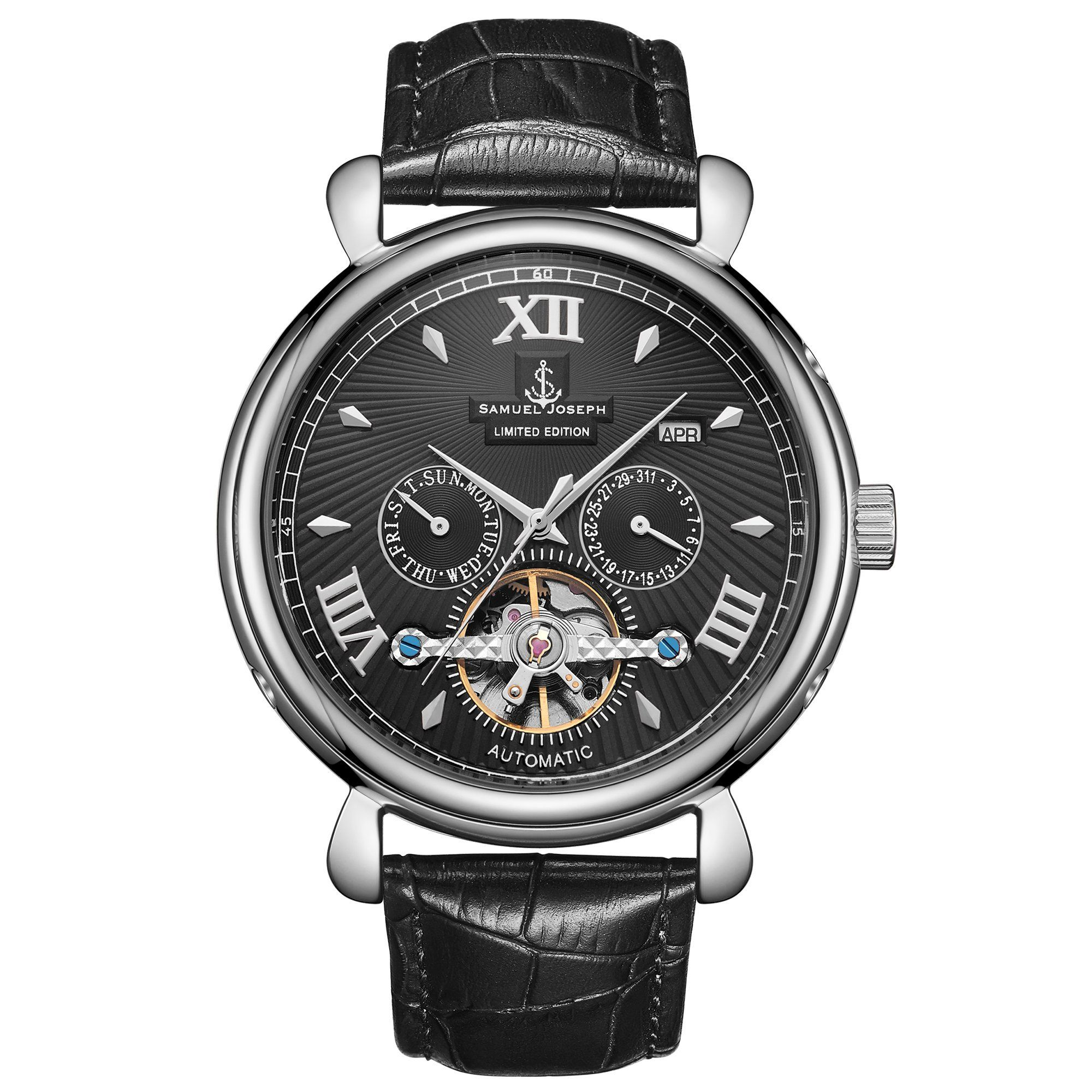 Samuel Joseph Limited Edition Steel & Black Automatic Designer Mens Watch
