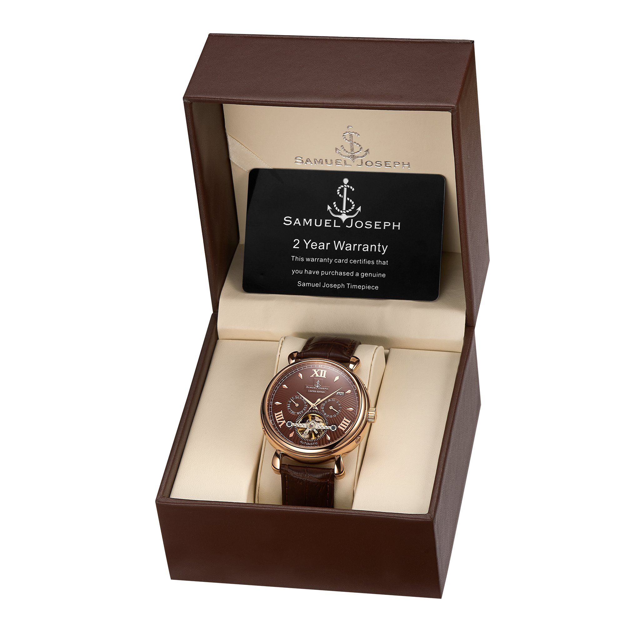 Samuel Joseph Limited Edition Rose & Brown Automatic Designer Mens Watch